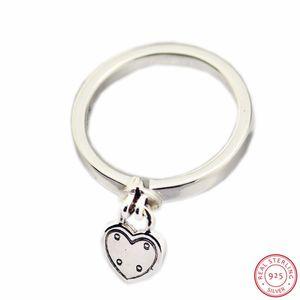 Anéis 'Love Lock' Dia dos Namorados dom prata esterlina 925 para Mulheres Belas Forma Jóias Coração Cadeado Pendant Logotipo FLR149