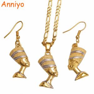 Anniyo Egitto Nefertiti Regina ciondolo collana orecchini donne egiziane, set di gioielli africani bicolore partito # 098906B