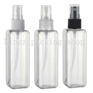 Горячая 30 шт. / лот 100 мл CC портативный прозрачный квадратный пластиковый распылитель многоразового бутылки духи ПЭТ бутылка с распылительным насосом
