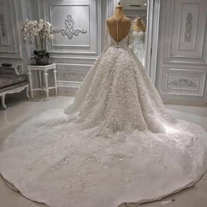 2020 Gorgeous 3D Floral Appliques Ball Gown Wedding Dresses Sweetheart Neck Sheer Long Sleeve Backless Beads Bridal Gowns Vestidos De Novia