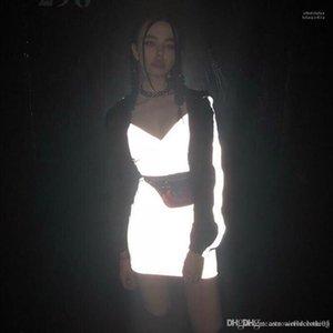 Reflectante Mujeres bodycon vestido de noche Summer Club Vestir Moda vestidos de 3M