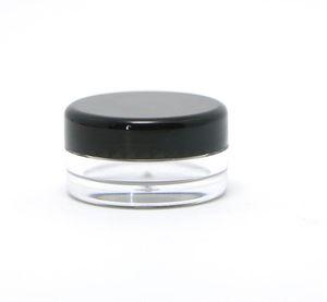 5G 5ML Hohe Qualität Leere Klare Behälter Jar Pot Mit Schwarzen Deckeln für Puder Make-Up Creme Lotion Lippenbalsam / Glanz Kosmetische Proben 1000 teile / los