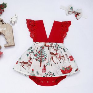 Christmas Infant Baby Girls Clothes Lace Bodysuits Dress+Headband Outfits Baby Girl Clothing One Year Birthday Girl Costume