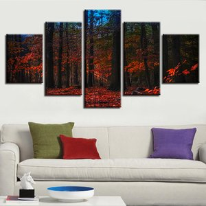 5 шт Red Forest Natural Night View Картина Poster Modular Decor Home Living Room HD Picture Wall Art Холст печати