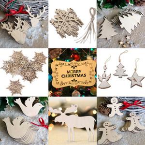 10pcs legno abbellimento albero di Natale dei cervi del fiocco di neve di goccia forme Pendant Ornament Craft Decoration
