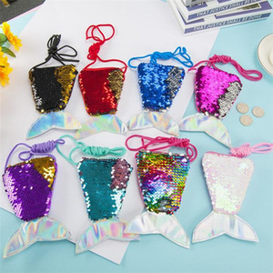 New Mini Kids Purses Girls Love Mermaid Sequins Zipper Coin Wallet With Lanyard Beautiful Fish Shape Tail Sling Money Card Purse Pouch Bag