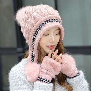 Atacado quentes Mulheres Winter Outdoor chapéu feito malha Luvas Conjuntos das meninas bonitos Knit Thicken chapéu morno Fingerless Mitten chapéus de festa DH0505 T03