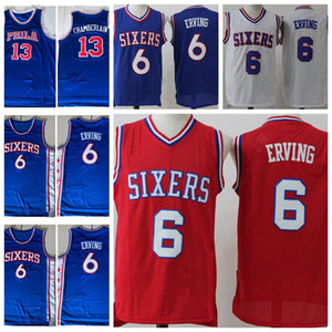 Баскетбольные майки старинные мужские Julius Erving 6 NCAA College Cheap City Wilt Chamberlain 13 Edition сшитые рубашки