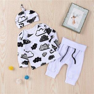 Новорожденные Мужская одежда Set Облако граффити футболки Hat + брюки с длинными рукавами пуловер + Drawstring Брюки с эластичным поясом