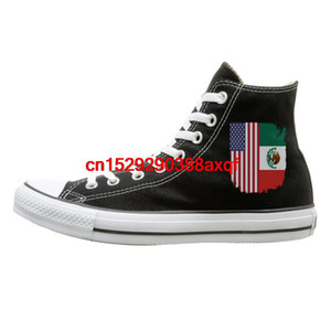 Canvas Shoes Mexican American Flag Classics High Top Lace Ups Sneaker For Unisex