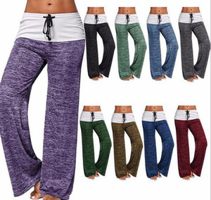 Womens Yoga Pants Stretch Comfy Soft Flare Wide Leg Workout Legging Patchwork Boot Cut Pants KKA7841