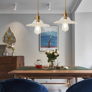 Vintage Pendant Light Brass Fitting with Glass Shade Ceiling Light E27 Loft Hanging Lamp for Bedroom Restaurant Cafe