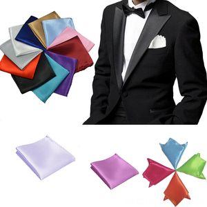 New 35 Solid Colors Mens Hanky Satin Neck Tie Set Ties Solid Plain Suits Pocket Square Wedding Party Hotel Handkerchief