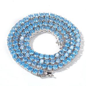 1 Row 4 millimetri Blue Zircon Pietra Tennis Catena di Hip Hop Bling fuori ghiacciato collana per le donne gli uomini