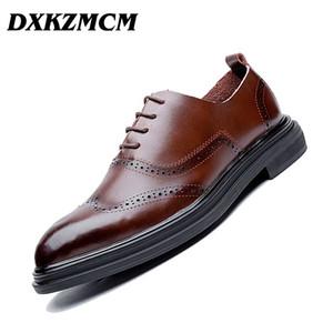 DXKZMCM Vestido de cuero genuino Zapatos de hombre con cordones Zapatos de boda formales para hombre