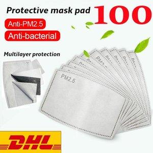 Yeni Gelen Stok !! 100Pcs Hava Arındırıcı Maske Filtresi Pad PM2.5 Filtreli Karbon Tek Pad DHL Hızlı Kargo Maske Aktif