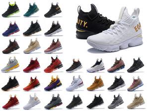 Zapatos Lebron 15 KITH SVSM PE de baloncesto del Mens Igualdad Inicio Lakers Violeta de Oro James 15s Breathe las zapatillas de deporte de diseño Mowabb con la caja AJ3936-002