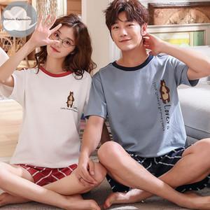 Yaz Yeni Örgü Pamuk Kadın Pajama Çift Karikatür Gecelik Erkek Pijama Aşıklar pijamalar M-3XL Ev Moda Y200425 Setleri