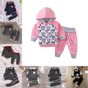 8 Stiller Bebek Çiçekli kafes Hoodies Kazak + Pantolon 2adet / set çocuklar Boys Kızlar Eşofman Kıyafetler moda Çocuklar Giyim M772 ekose