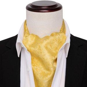 Ascot Tie for Men Yellow Silk Cravat Floral Necktie Set Handkerchief Cufflinks Male Paisley Ties for Wedding Party Barry.Wang