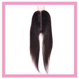 Chiusura brasiliana del merletto dei capelli del virgin 2X6 capelli umani diritti 2 * 6 chiusura parte centrale 8-20inch colore diritto Chiusura superiore superiore