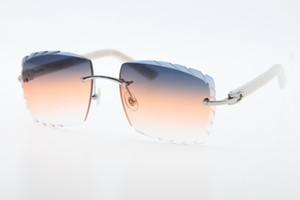 Trasporto libero che vende senza orlo ottico 3524012-A in marmo bianco originale Plank occhiali da sole di modo di alta qualità lenti intagliate vetro unisex