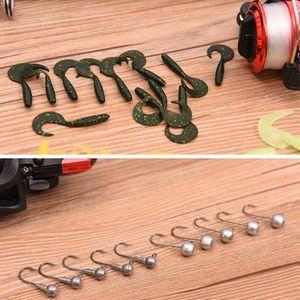Fishing Lure Suits Spinning Wheel 42pcs Soft Bait 10pcs Lead Head Hooks 1.3m 1.6m Fishing Rod Gear Set