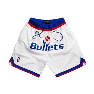 WashingtonBulletsMEN curto APENAS DON por Mitchell Ness bolso basquete calças S-2XL
