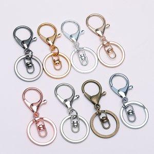 5pcs / lot Gold Silver Keychain Anel 30 milímetros Chaveiro longa 70 milímetros fecho da lagosta Key gancho Cadeia Para fazer jóias Apreciação Supplies