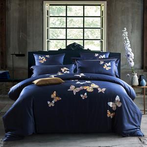 Borboleta bordado real do fundamento do Rei Queen Size algodão egípcio set Bed lençol de capa de edredon Fronhas Início decorativa