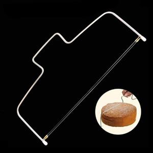 Acero inoxidable de doble línea Cake ajustable máquina de cortar metal Corte la torta Herramientas alambre Pan Slicer Cortador de masa para hornear de cocina