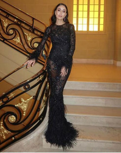 Evening dress Yousef aljasmi Black Lace Mermaid Feather Long sleeve