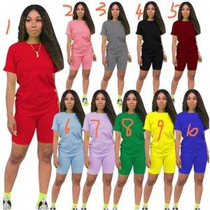 10 colores de algodón camiseta y los cortocircuitos fijados para el verano de las mujeres del chándal de dos piezas de manga corta traje de deporte Sweatsuit sólido LY611 Traje Llanura