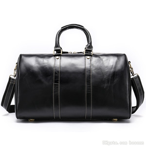 Good Quality Genuine Leather Duffel Bag Famous Brand Vintage Designer Weekend Travel Bags Carry On Luggage Bag (Black Coffee)