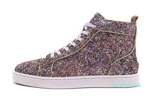 High Top 2016 Роскошный Розовый Фиолетовый Красочные Блеск Кожа Gold Line Мужчины Red Bottom Shoes Женщины Дизайнерская Повседневная обувь с качеством топ L16