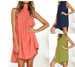 2019 Sommer Leinen Weste Sommerkleid drapiert elegante Mädchen lässig Frühling Plissee Kleid einfarbig ärmellos Rundhals Party Nacht