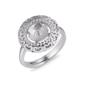 Clásicos anillo Cabochon de joyas entorno semi-acabado montajes perla Accesorios zircones 925 5 Piezas