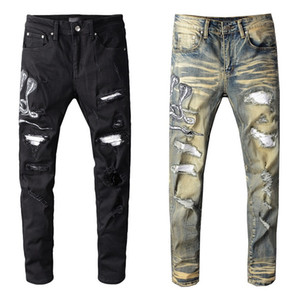 Hommes célèbres Jeans Hommes Ripped Skinny Slim Fit élastique Denim Jeans Biker Fashion Fit Zipper Pantalons Ripped Hip Hop Casual Pantalons