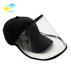 Vitog Face shield hat Transparent Anti Droplet Dust-proof Protect Full Face Covering Mask Visor Shield Stop the Flying Spit Prevent Baseball