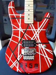 Пользовательские 5150 Van Halen Black White Stripe Red Art Series Электрогитара FR тремоло Лучшие продажи