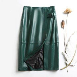 lápiz de cuero genuino falda midi correa de las señoras 2020 faldas de talle alto de piel de oveja de cuero nuevas mujeres