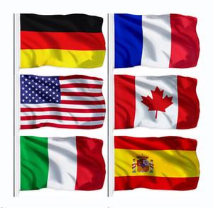 Yeni Ulusal Bayrak% 100 Polyester 3x5 Fts 90 * 150cm Birleşik Devletleri Kanada Almanya Birleşik Krallık Fransa İspanya İtalya Bayrağı İçin Dekorasyon