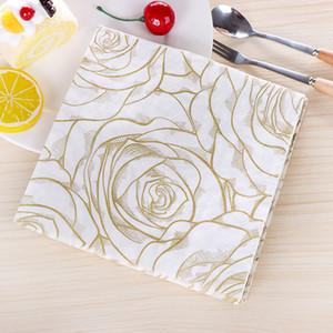 vintage napkin paper tissue white black printed golden rose handkerchief decoupage wedding birthday party serviettes decor mat
