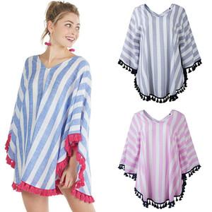 2019 Yaz Kadın V Yaka pelerin Üstleri moda Çizgili püskül şal Casual Tees Annelik Kadın Giyim 3 renkler T-Shirt C6718