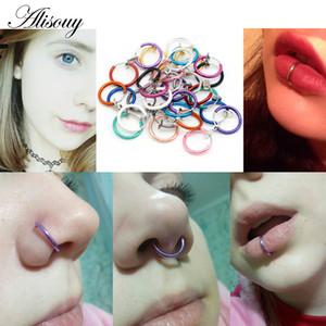 Alisouy 2 PCS Medical Nariz de titanio multicolor Aro de nariz Anillos clip en el anillo de la nariz Body Fake Piercing mujeres hombres joyería del cuerpo