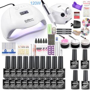 Nails Set 35000RPM machine électrique clous Drill 120W LED lampe UV Dryer de Nail Gel Polish Kit manucure Outils Set pour Nail Art
