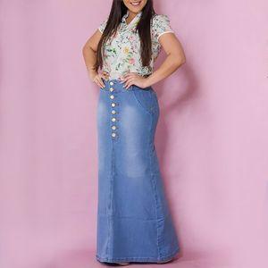 Long Skirt Women High Waist Slim Fit Ladies Mermaid Denim Skirt 2019 Vintage Button Split Jeans Skirts Womens jupe femme D20 CX200704