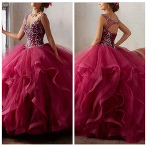 2019 V-Neck Ball Gown Ruffles Tulle Quinceanera Dresses Beaded Rhinestone Open Back Floor Length Vestidos De Quinceanera Party Gowns Cheap