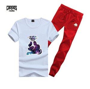 T8593 tamaño s-5xl Envío gratis Nuevo traje de llegada Hombres bc camisetas + pantalones Chándales estilo carta colorida