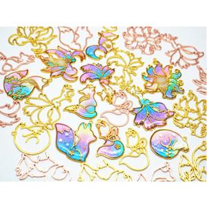 Accessori di gioielli Components astuto di 10pcs Fox animale Ciondolo Aperto Regolazione dell'incastronatura UV Resin Craft la fabbricazione dei monili